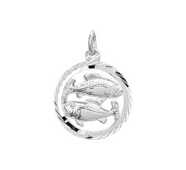 Zilveren bedel met vissen sterrenbeeld