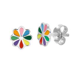 Zilveren oorknoppen gekleurde bloem regenboog