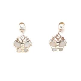 Zilveren oorhangers vlinders wit parelmoer met steker
