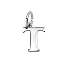 Zilver hanger letter T gerhodineerd
