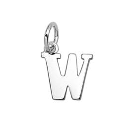 Zilver hanger letter W gerhodineerd