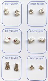 Zilveren oorknopjes variatie wit/ zilver