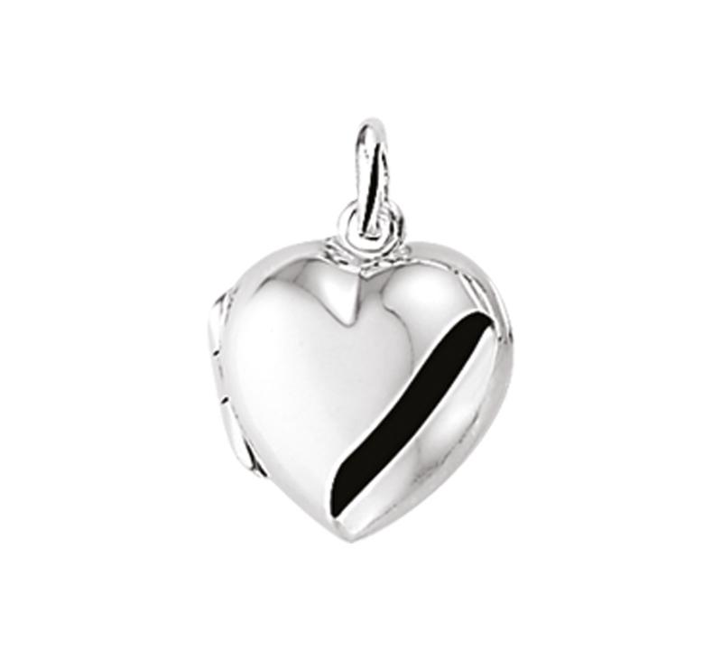 Zilveren bedel medaillon hart  glad 11,5 mm