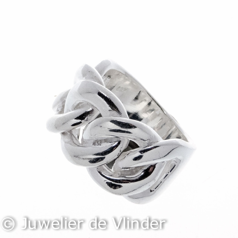 Zilveren ring gourmet breed mt 16,5 x 17 mm