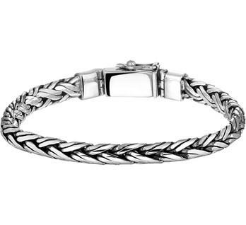 Zilveren armband gevlochten geoxideerd 18-21cm x 6 mm
