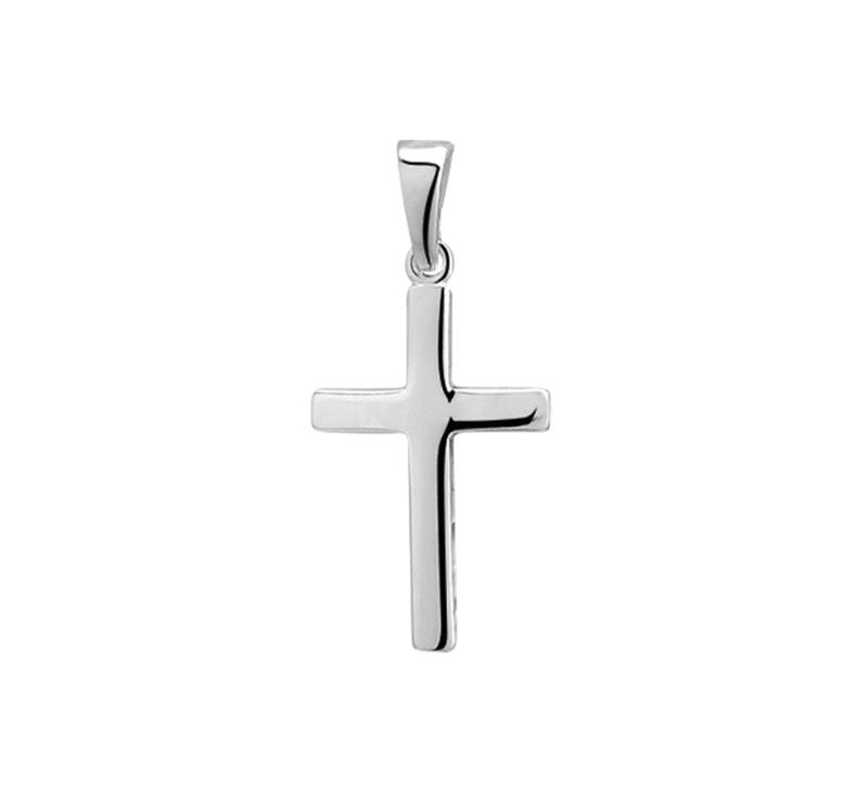 Zilveren bedel kruis glad 20,5, 24,  27 mm