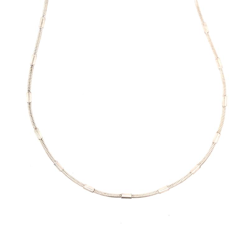 Zilveren slangenketting met buisjes 42 cm