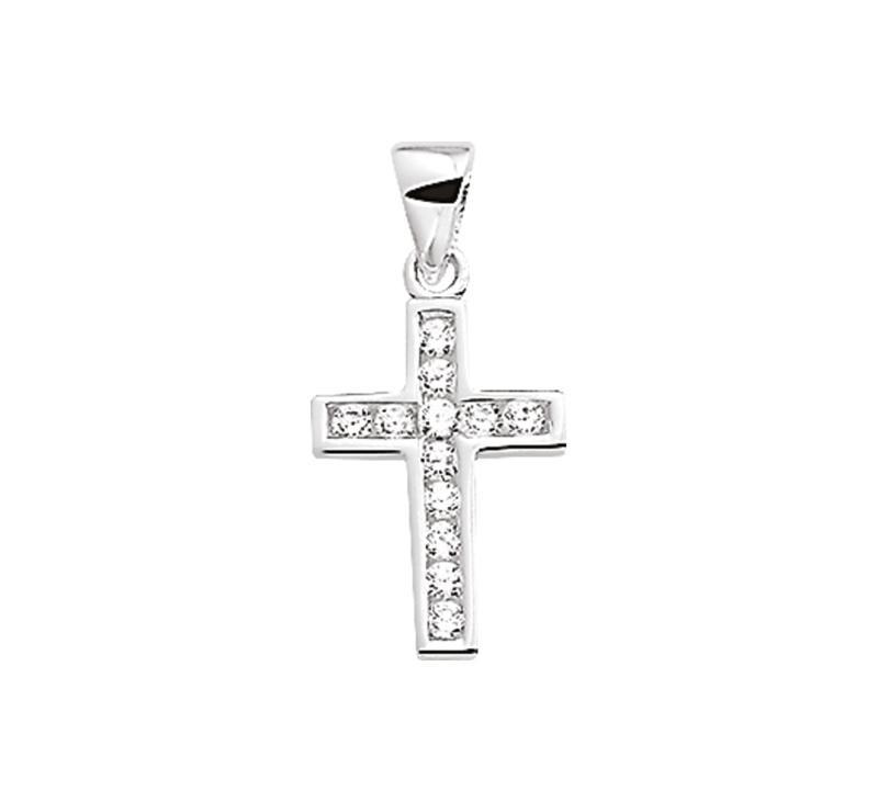 Zilveren bedel kruis met zirkonia steentjes 20 mm