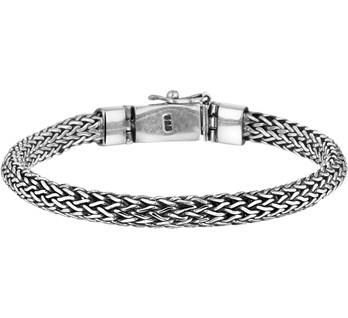 Zilveren gevlochten armband 18-21cm x 6 mm