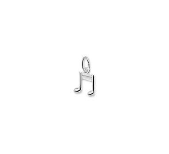 Zilveren bedel muzieknoot dubbel
