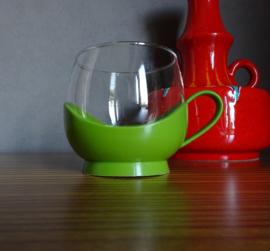 Groen glazen tasje