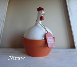 "Terracotta kip groot ""Home sweet home"""