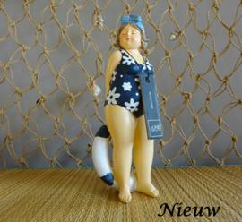Staande vrouw met zwemband