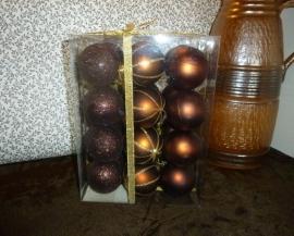 Set bruine kerstballen