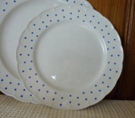 Plat bord Boch blauwe stippen