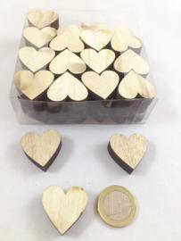 Houten hartjes 2,5 cm - 48 stuks
