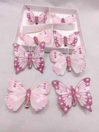 Vlinders 8 cm met clip glitter roze - 8 stuks