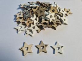 Houten kerststerren - 60 stuks