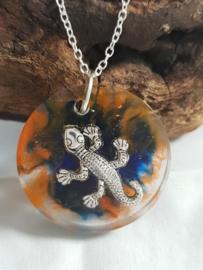 Ketting Gekko Blauw/Oranje (Zilver)