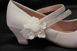 Ivoorwitte bloem glitterhak