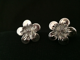 Haarsteker zilveren bloem, 2stuks