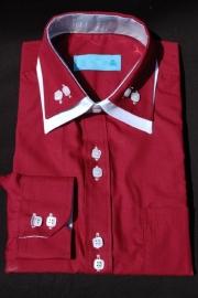 Italiaans overhemd bordeaux rood