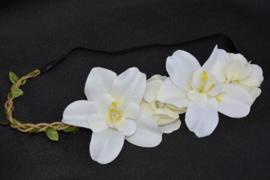 Bloemen haarband ivoor
