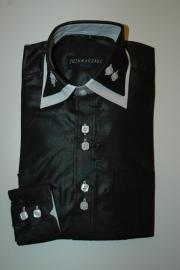 Italiaans overhemd zwart met wit