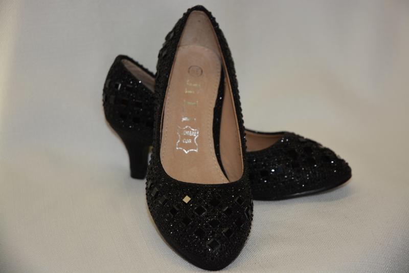 Glitterpump zwart