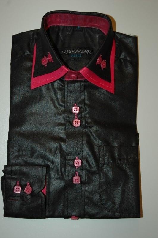 Italiaans overhemd zwart met fuchsia