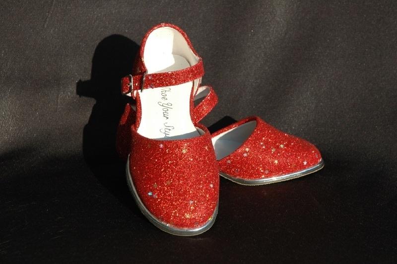 Rode glitterschoen met ster