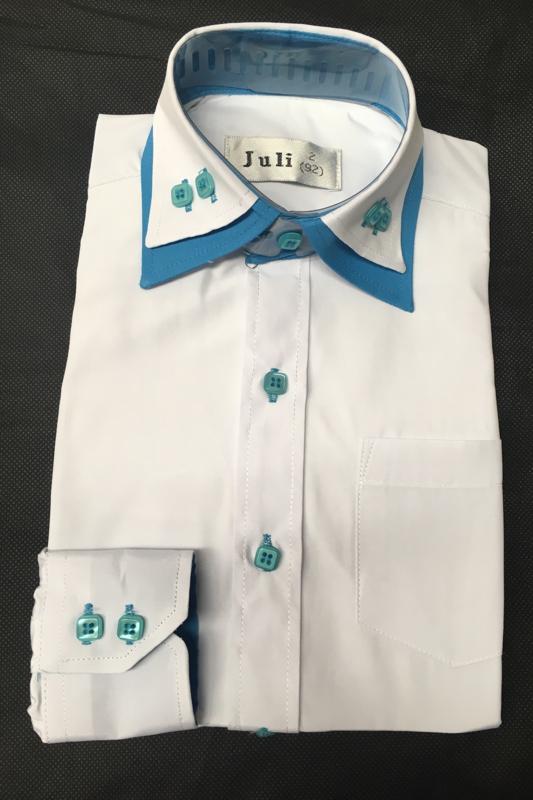 Italiaans overhemd wit/blauw
