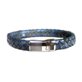 Heren Armband Blauw Leder RVS | Bela Donaco Jewelry