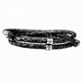 Heren Wikkel Armband Zwart Leder Zilver | Bela Donaco Jewelry
