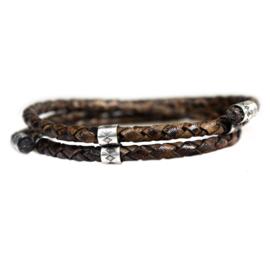 Heren Wikkel Armband Vintage Bruin Leer Zilver | Bela Donaco Jewelry
