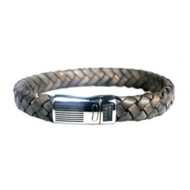 Heren Armband Taupe Leder RVS | Bela Donaco Jewelry