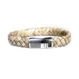 Heren Armband Beige Leder RVS | Bela Donaco Jewelry