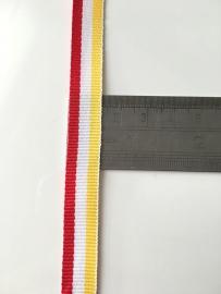 Oeteldonks Rood-Wit-Geel lint 12mm
