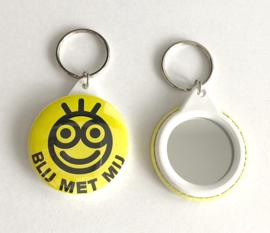 Hanger met spiegeltje - Blij met mij (geel) (4,5cm)