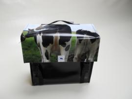 Smalle afneembare fietstas koeien achterkant