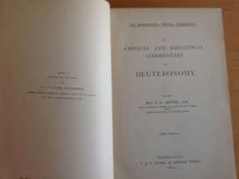 A critical and exegetical commentary on deuteronomy - Rev. S.R. Driver