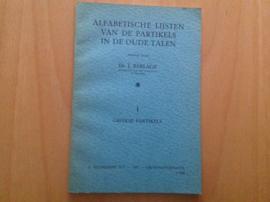 Alfabetische lijsten van de partikels in de oude talen - J. Berlage