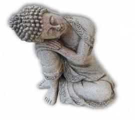 Rustende boeddha steengrijs 19,5 cm