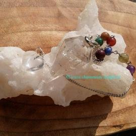Pendel bergkristal met chakra ketting