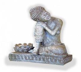 boeddha in rusthouding met theelichthouder 17 1/2 cm hoog