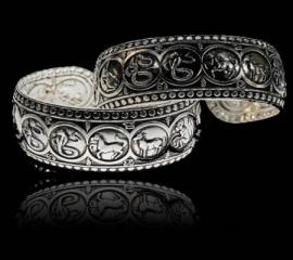 witmetalen armband met 12 sterrenbeelden afbeeldingen