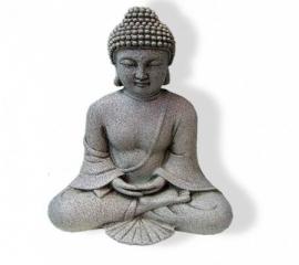 Mediterende boeddha steengrijs 24,5 cm