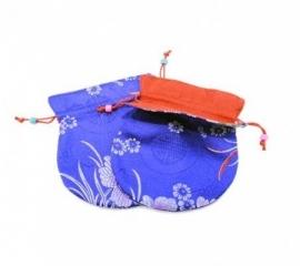 Mala brokaat tasje gevoerd blauw