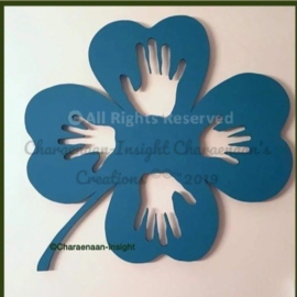 Four-leaf clover with hands.