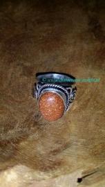 moniksgoud Bruin zilveren ring maat 18